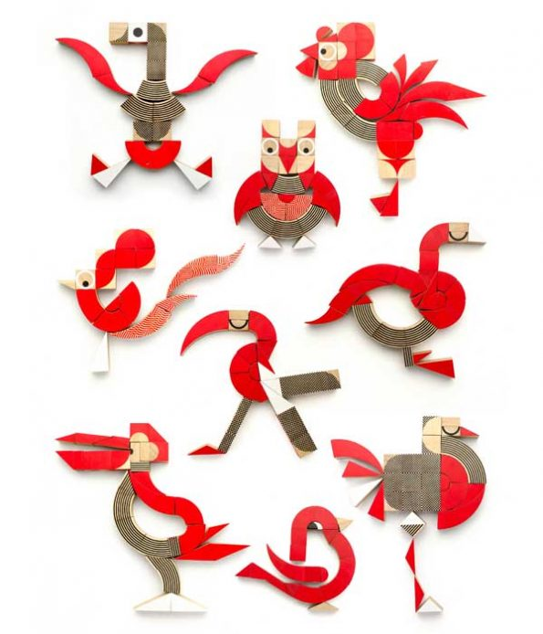 Birds and wooden shapes