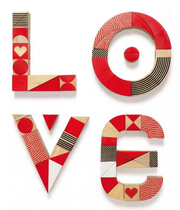 Love wooden blocks toy