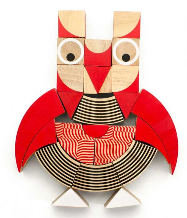 Owl wooden green toy