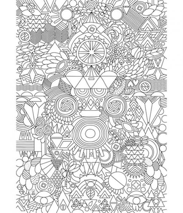 Happy patchwork patter poster for colouring