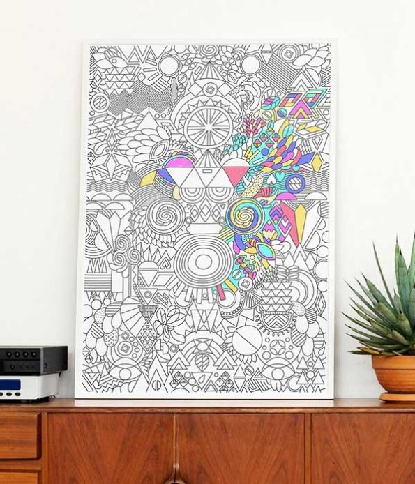 Patchwork decor print with frame