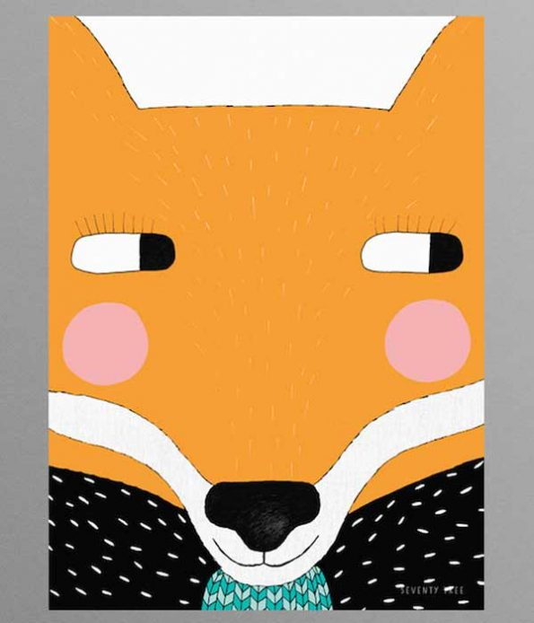 FSC paper posters for decoration Foxy print decor