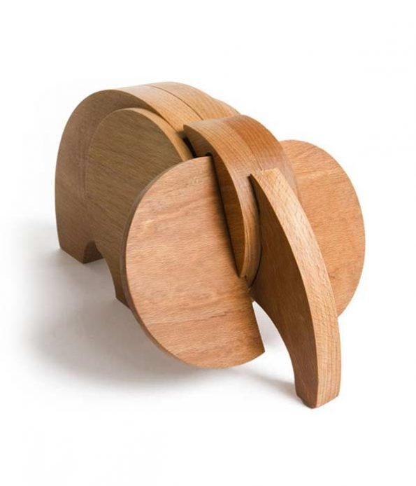 Mastodont elephant toy in wood