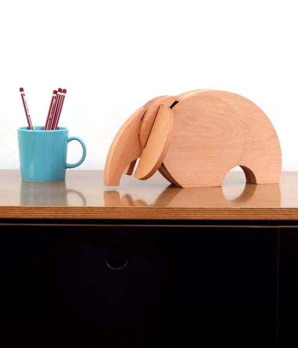 Elephant wooden piece for decoration
