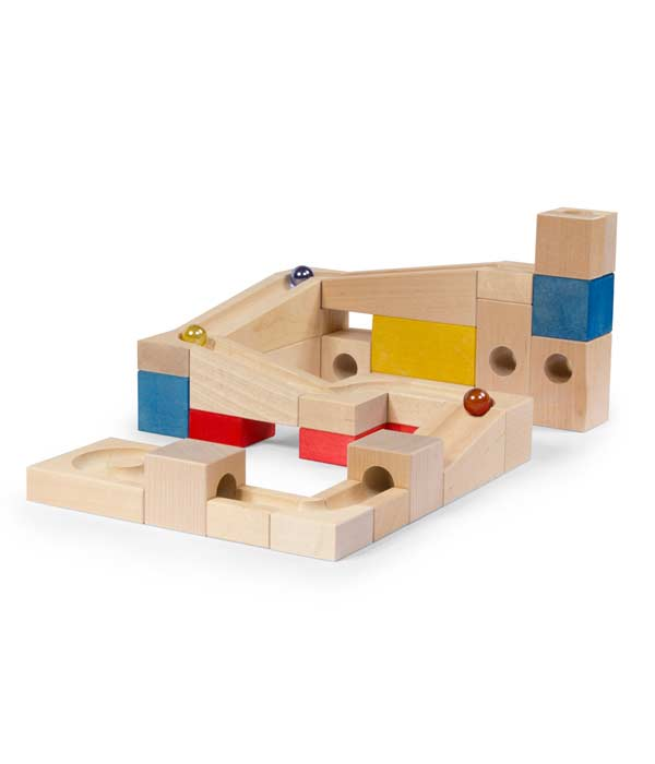 Marble and wood toy