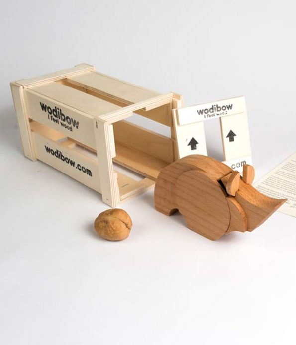 Wooden Rhino Toy Box