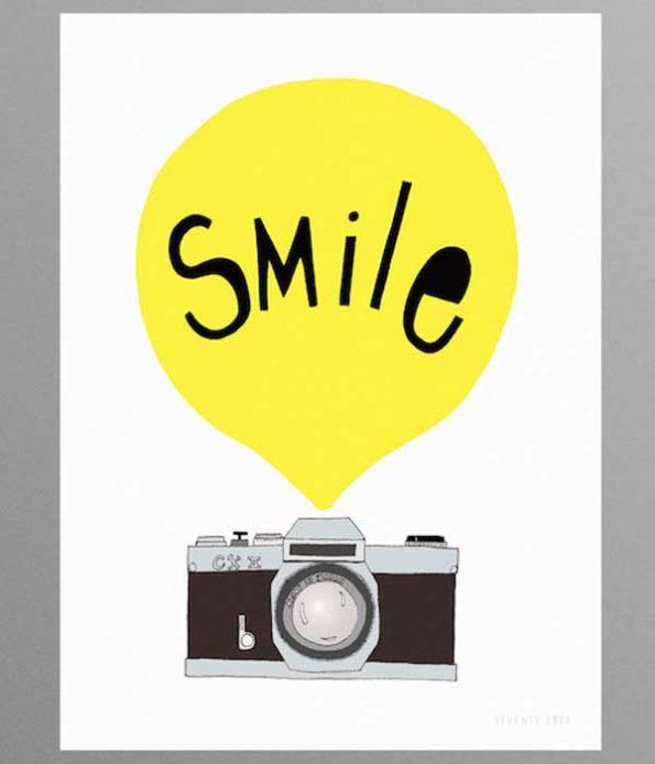 Seventy Tree Smile Print in Yellow