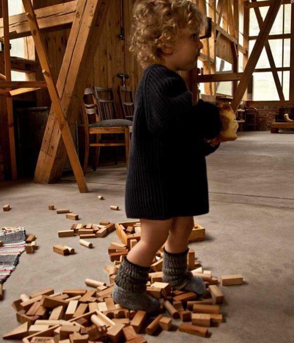 Indoor play with wooden blocks