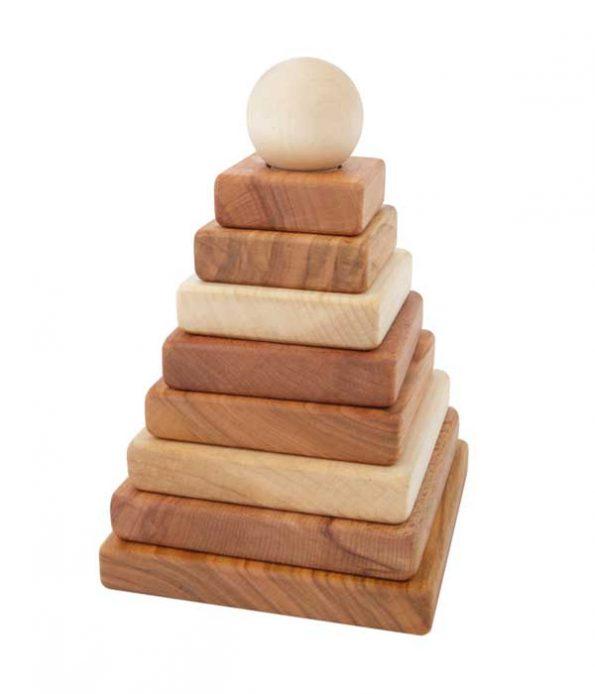 Natural wood pyramid toy